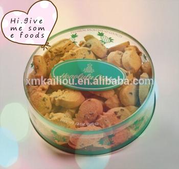 Cookie personalizado caja redonda de plástico de PVC pastel galleta cilindro de embalaje de galletas