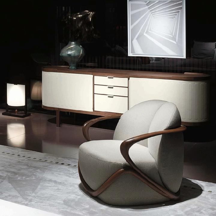 İtalya Milan son tasarım koltuk ceviz ile ahşap kaplı deri veya kumaş