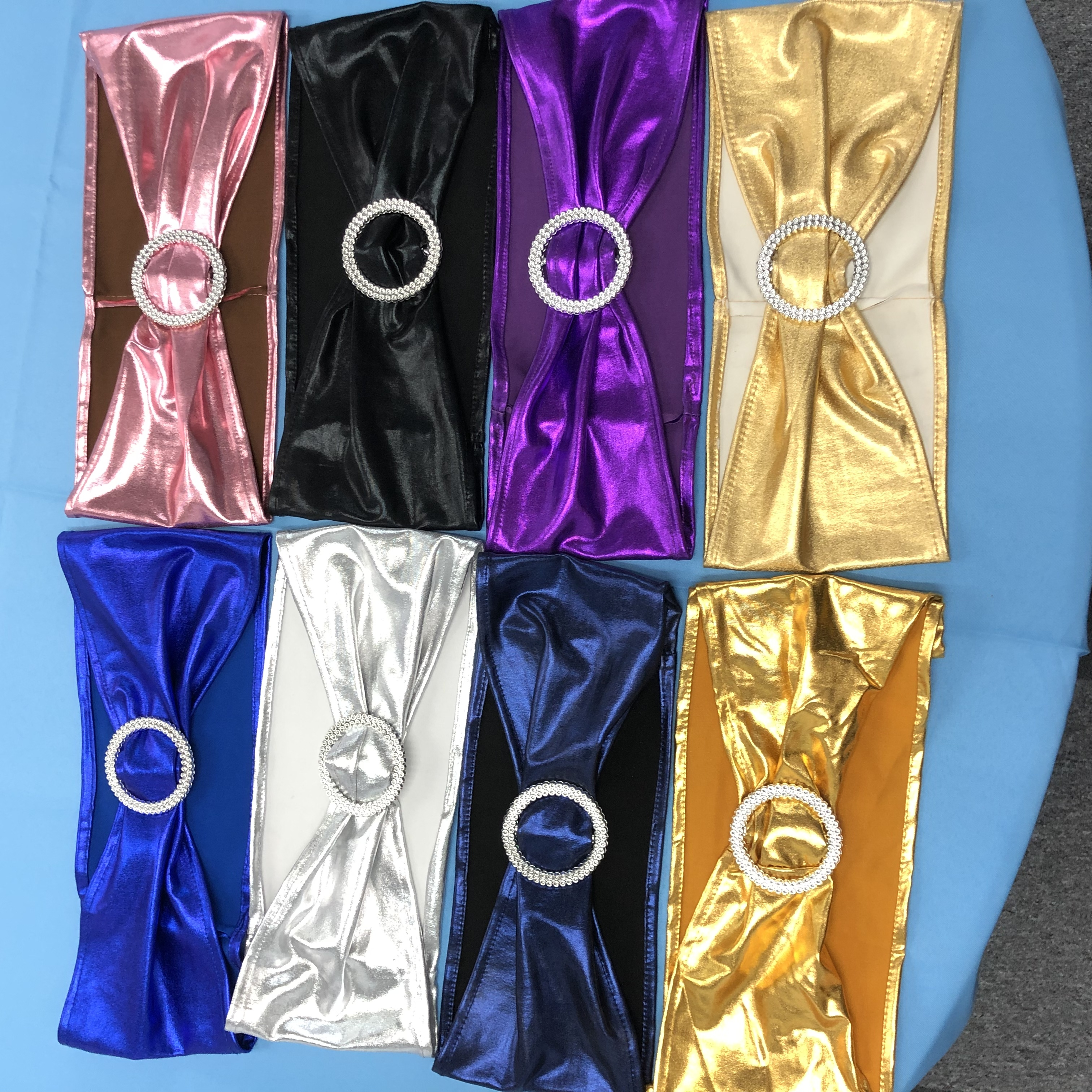 Multicolor metallic spandex cheap chair sashes for sale