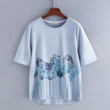 Белая хлопковая Футболка с цветочным принтом, Женская свободная летняя футболка 4XL с полурукавами, графическая футболка с круглым вырезом, ...(China)