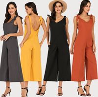 2019 European and American spring and summer new women's four-color tied bandwidth loose jumpsuit
