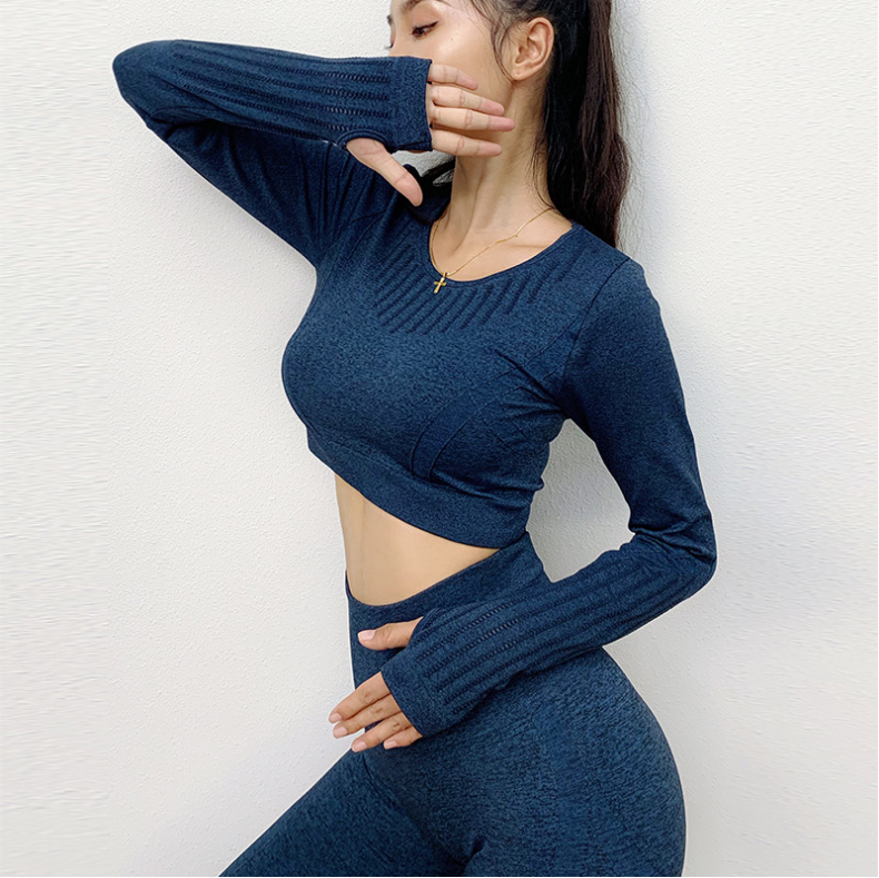K011 Matched Mesh Wholesale Activewear Top Long Sleeve Yoga Exposed Navel Tops 5