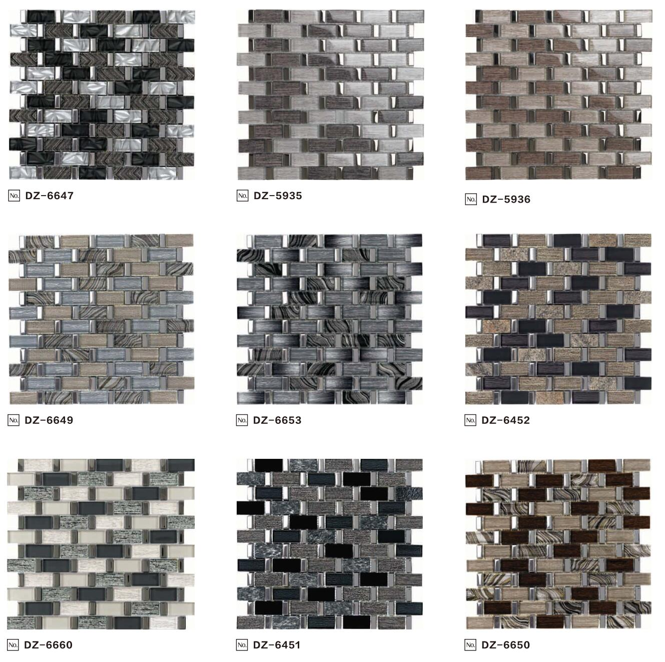 Super maket Top Selling Laminated Glass Mosaic tile Grey Mosaic for bathroom and kitchen Foshan China
