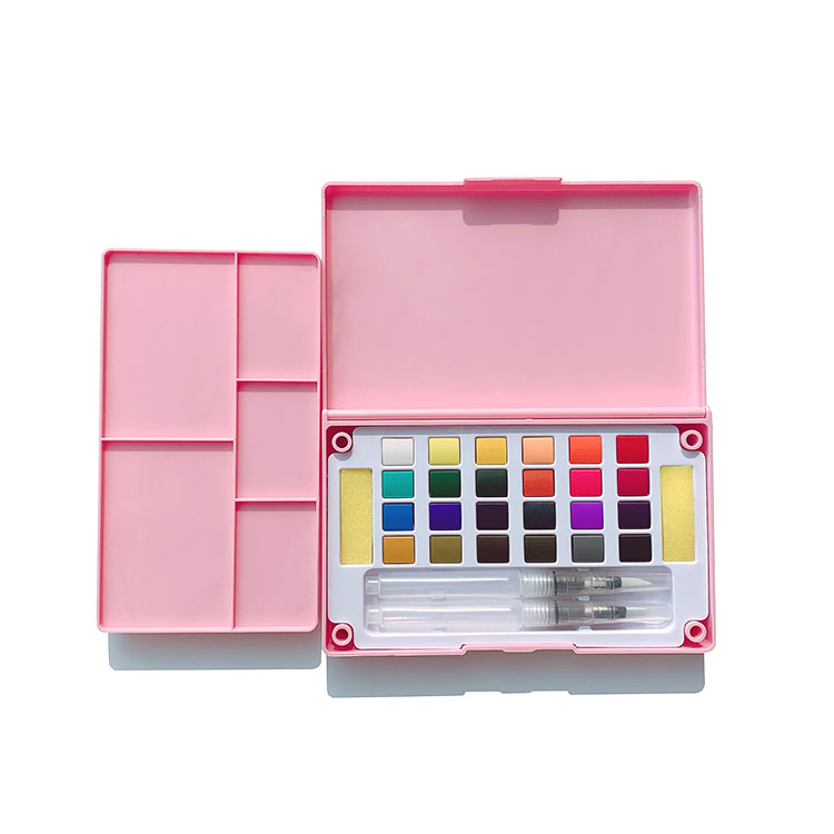 24 36 Colors Portable Box Artist Solid Paint Pan Watercolour Set with Brush