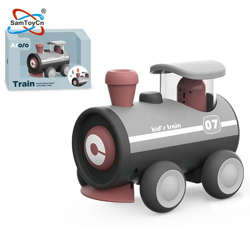 Macarons Gray Color Kids Plastic Car Friction Toy Train with Certificate
