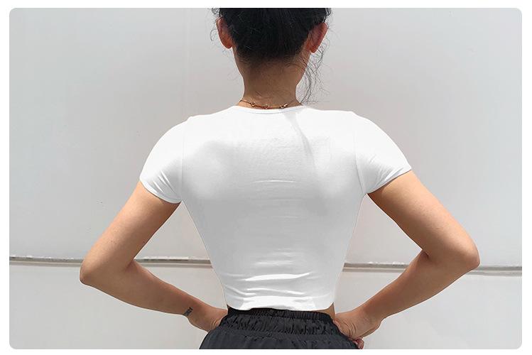 11 Colors Wholesale New Women Sliming Sports Crop Top Running Short Sleeve T shirt 10
