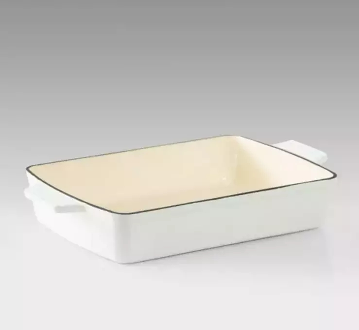 Enameled Cast Iron Rectangular Roaster Deep Baking Dish Cookware