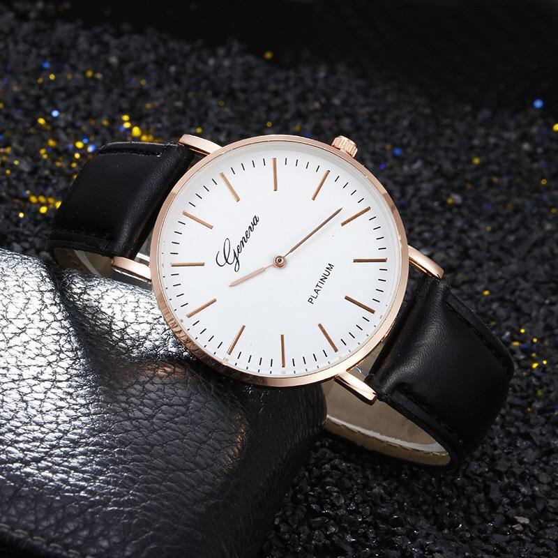 レザーストラップシンプルな時計ブランド男性高級腕時計クォーツ腕時計ジュネーブメンズ腕時計