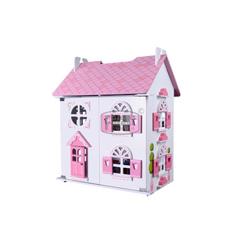 Rose Girl Pretend Toy Large Pink Doll Home Cottage Wooden Doll House