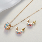 Gold Plated Stainless Steel Necklace Wholesale Simple Design Gold Plated Stainless Steel Enamel Earring Necklace Jewelry Set