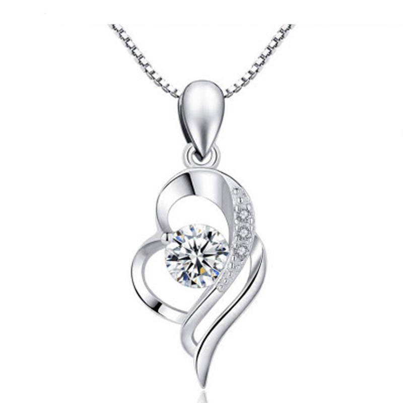 2019 Sterling silver amethyst necklace inlaid with zircon heart-shaped accessories for women