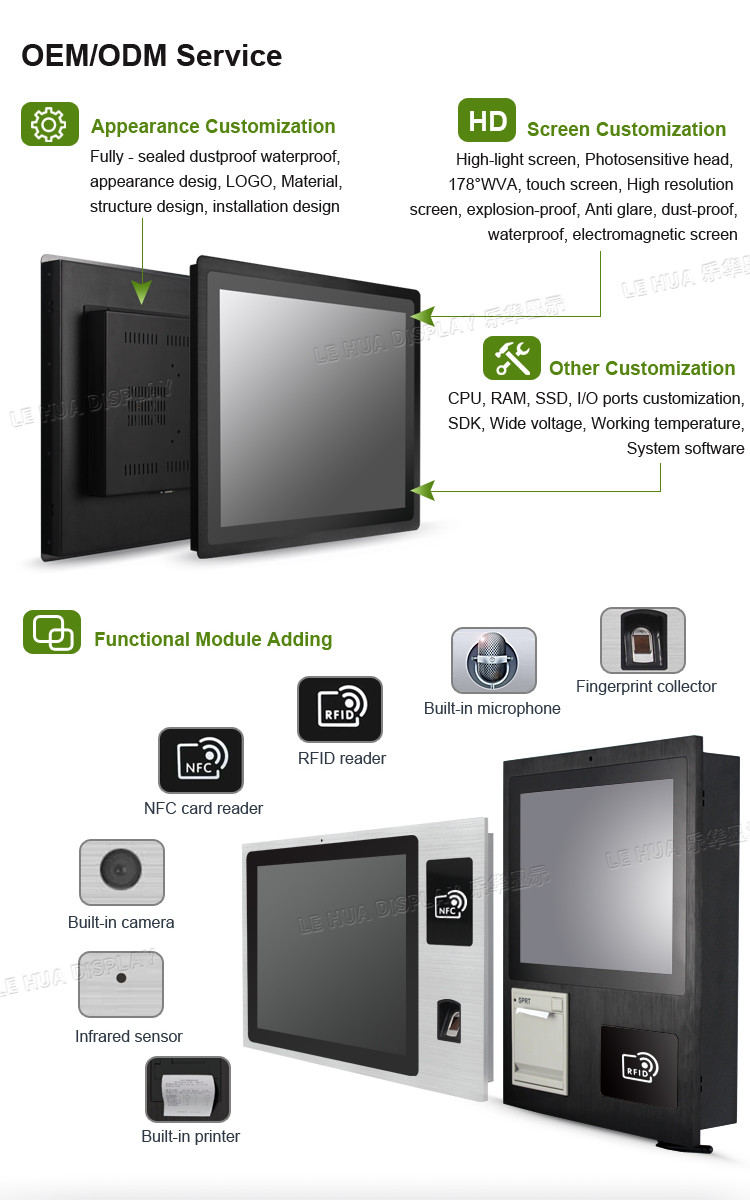 WIFI USB RS232 GPS 10 inch wall mount touch screen Android panel all in one PC
