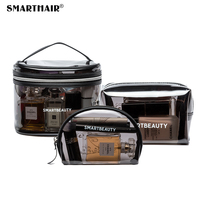 Eco Friendly Personalized Small Travel Professional Makeup Trolley Transparent Cosmetic Packaging Make Up Bag With Logo