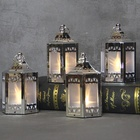 christmas decor metallic moroccan plastic Mini Holographic Stars Lanterns with warm white led