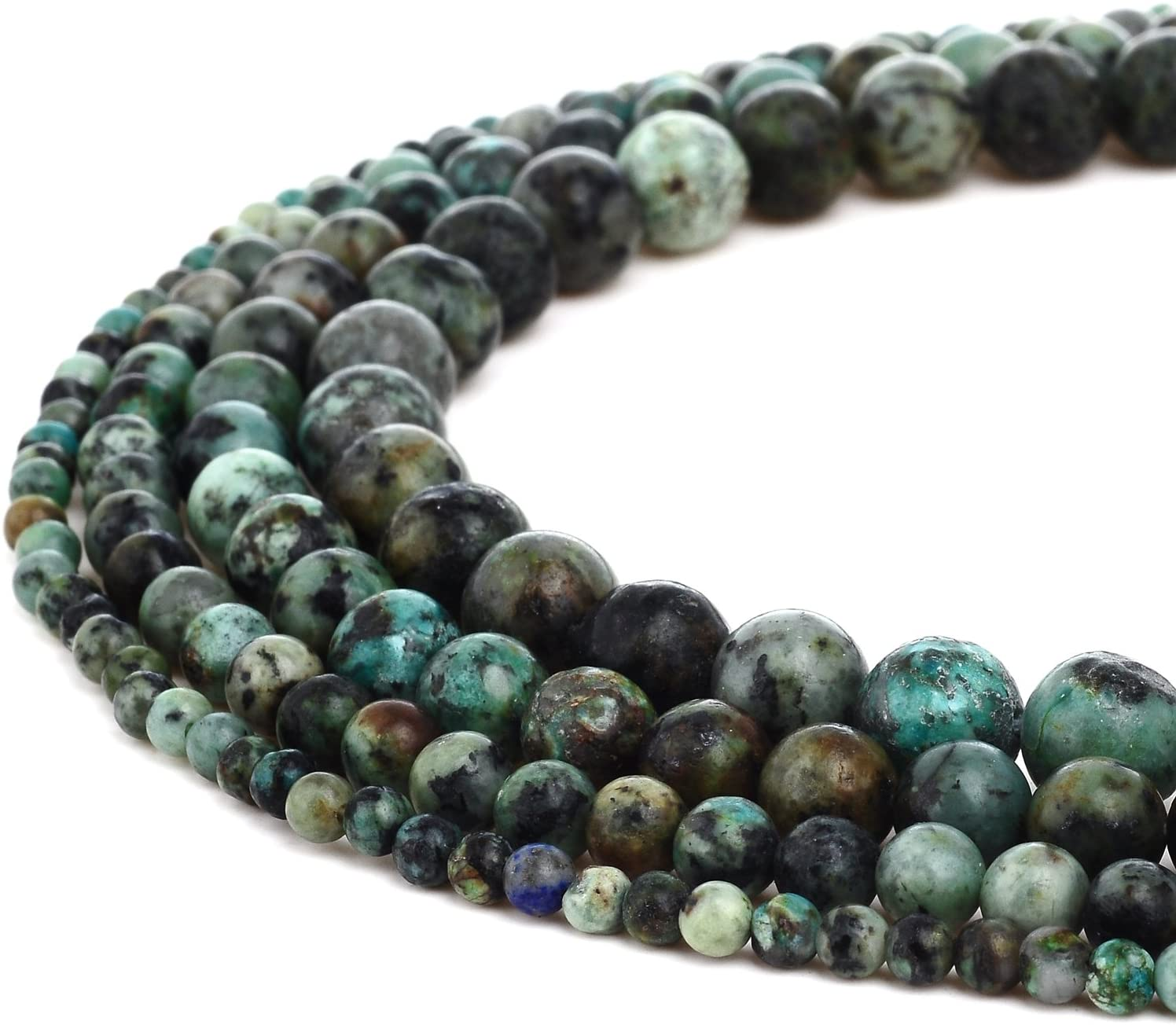 R Natural African Turquoise Gemstone Round Loose Beads for DIY Jewelry Making