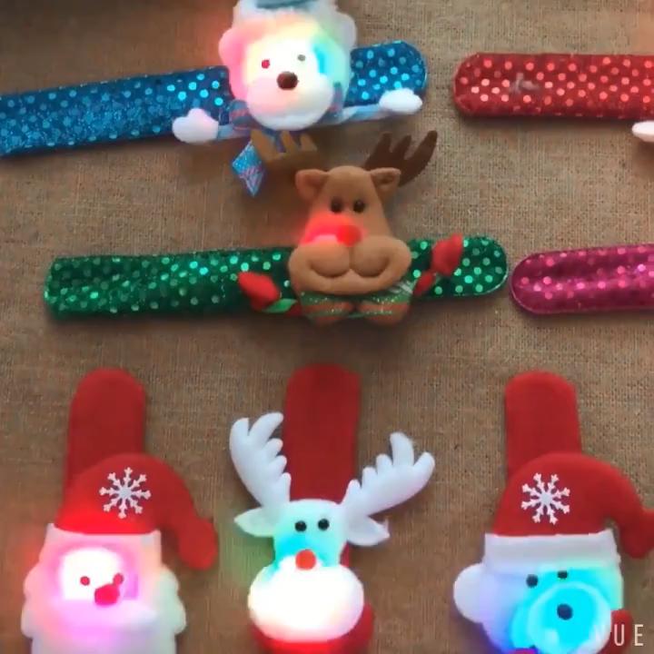 Lumineux De Noël Cadeaux Pour Enfants avec des Lumières De Noël Cadeaux Créatifs Personnes Âgées Bonhomme De Neige En Tapotant Cercle Papa Bracelet
