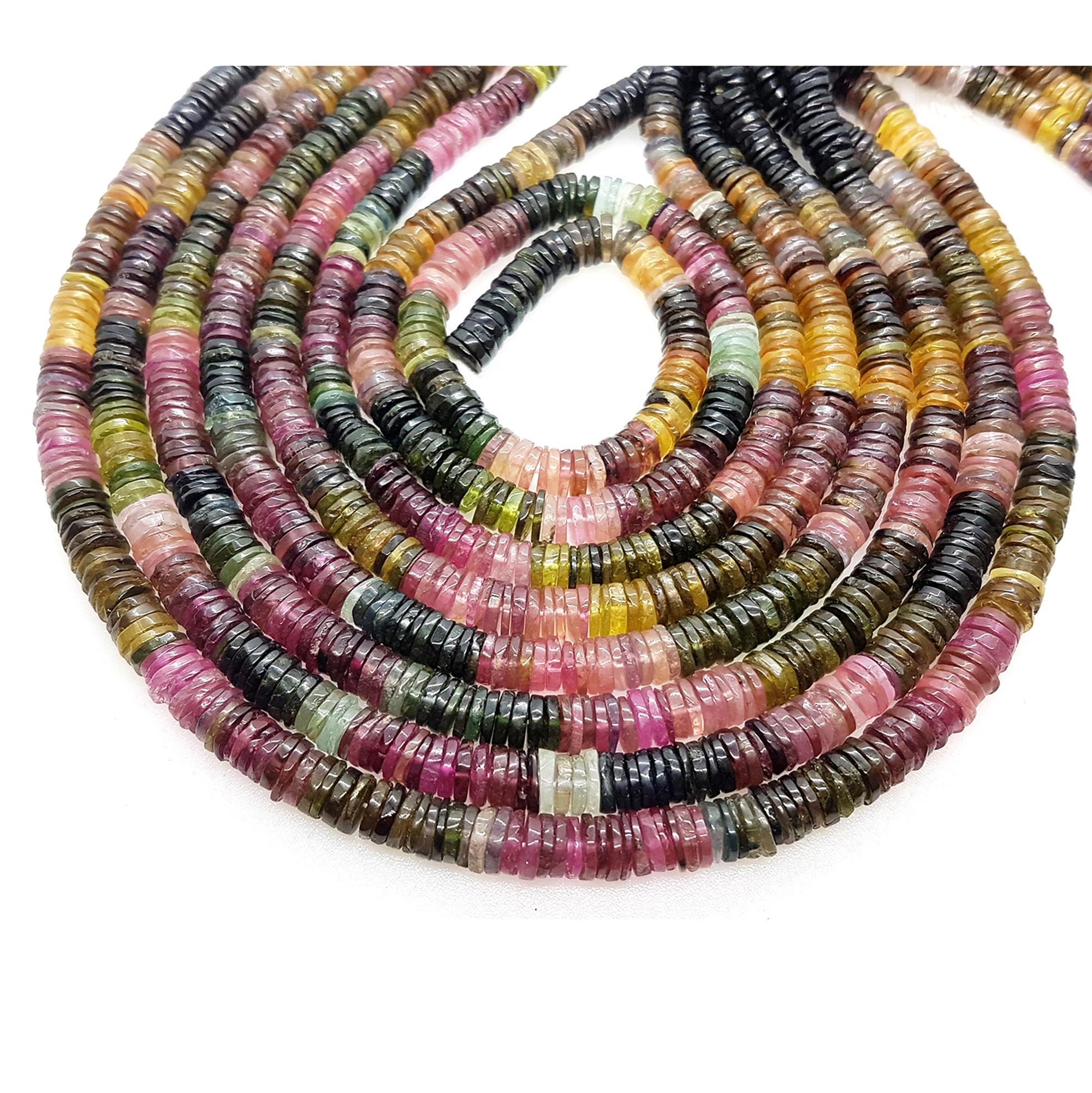 Natural Multi Tourmaline Plain Heishi Wholesale Beads, Gemstone Beads Supplier, Necklace Making Colorful Gemstone