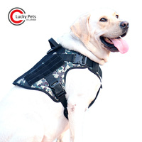 Military Patrol Adjustable Comfortable Camouflage Tactical Dog Harness with Handle