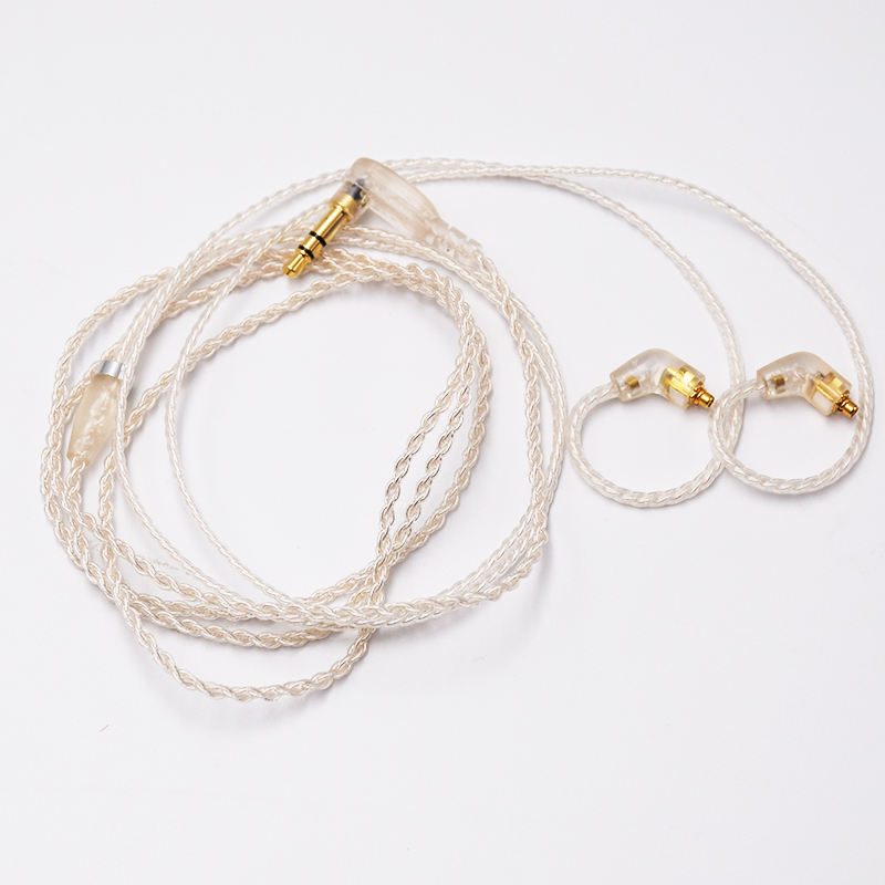 Supper soft braided silvered cable for A2DC earbud replacement cable