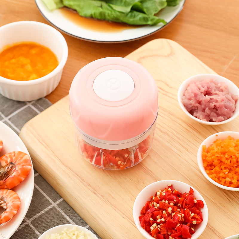 Electric Garlic Press Crusher Kitchen Cooking Meat Grinder Mini Food Garlic Vegetable Chopper Crusher Press for Nut Fruit Onion