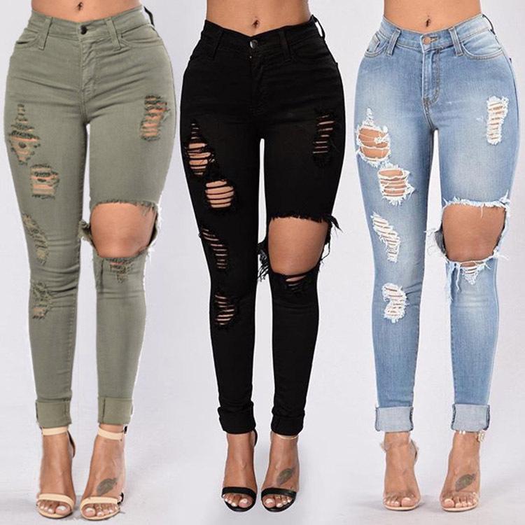 Pantalon en jean déchiré pour femmes, taille haute, style décontracté, slim, extensible