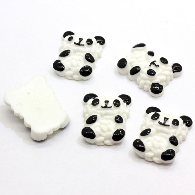 Chinese Speciality Cute Design Panda Shape Popular Novel Beads White Kawaii Flat Back Resin Stickers for DIY Decoration