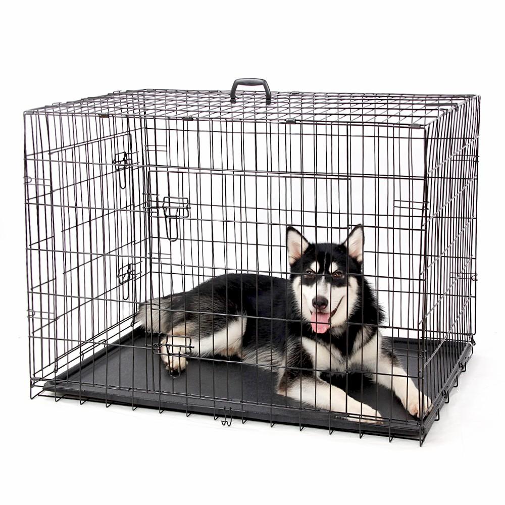 סיטונאי שחור מתכת לחיות מחמד כלב ארגז עמיד חיצוני גדול כלוב כלב מתקפל