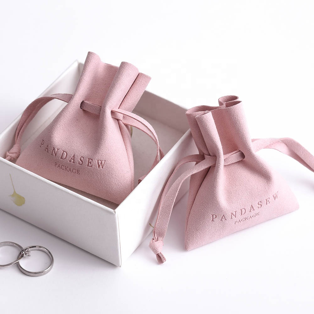 PandaSew 8*7cm Luxury Custom Jewelry Pouches with Logo Pink Microfiber Small Gift Drawstring bag, Pink or customized color
