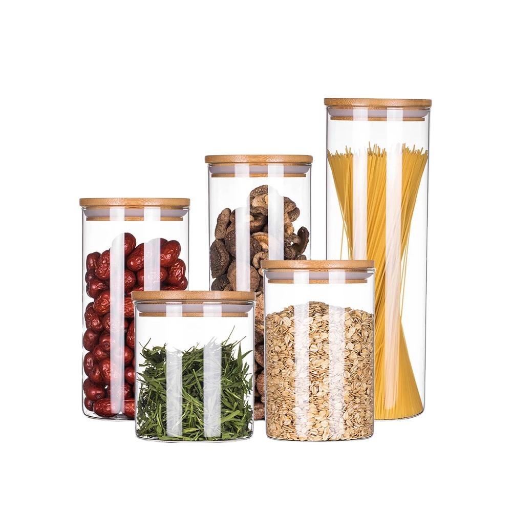 OEM Lieferanten 100ml 200ml 250ml 300ml Hohe Borosilikat küche Glas lagerung gläser mit Bambus Deckel