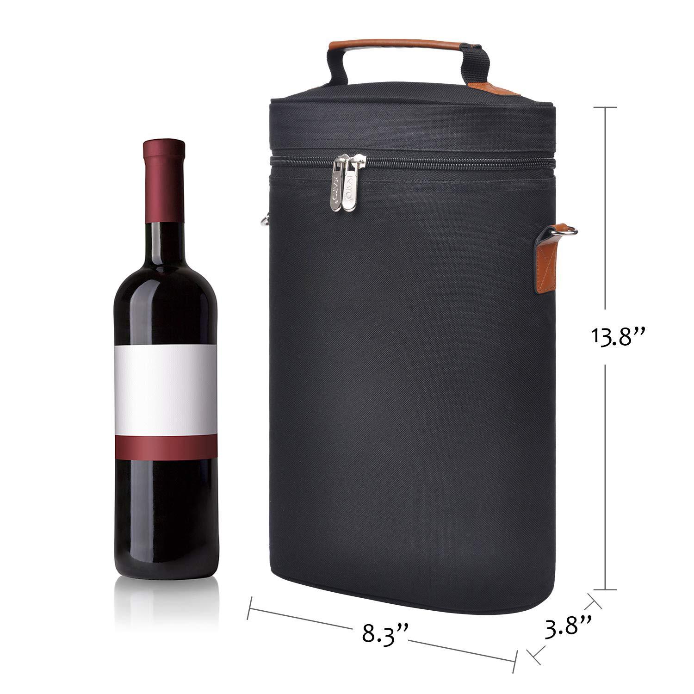 2 botella de vino bolsa de transporte bolso aislado comida, bolsa picnic impermeable caja de vino bolsa