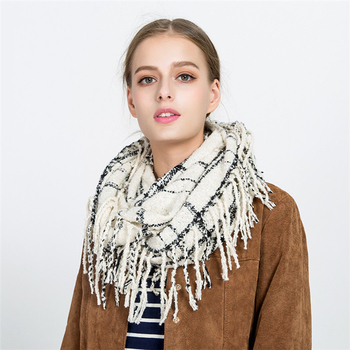 women fringe stylish scarves tassel Ladies plaid Infinity scarf