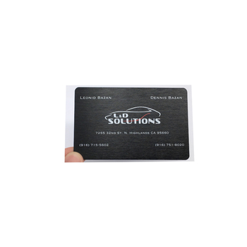 OEM logo and brand anodized matt black brush metal aluminium business cards