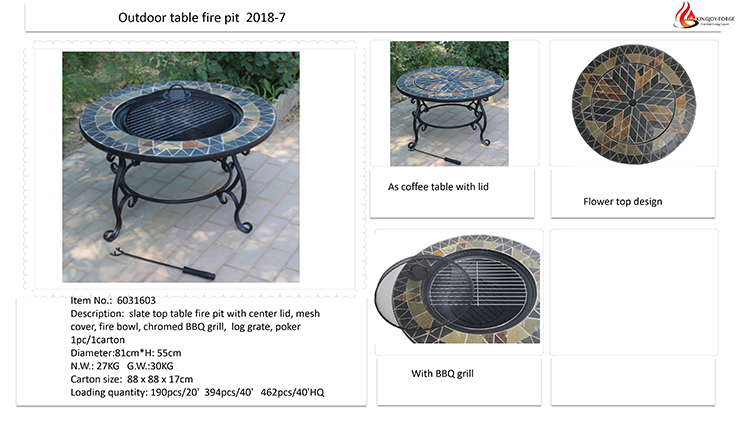 manufacturer for slate fire pit table outdoor