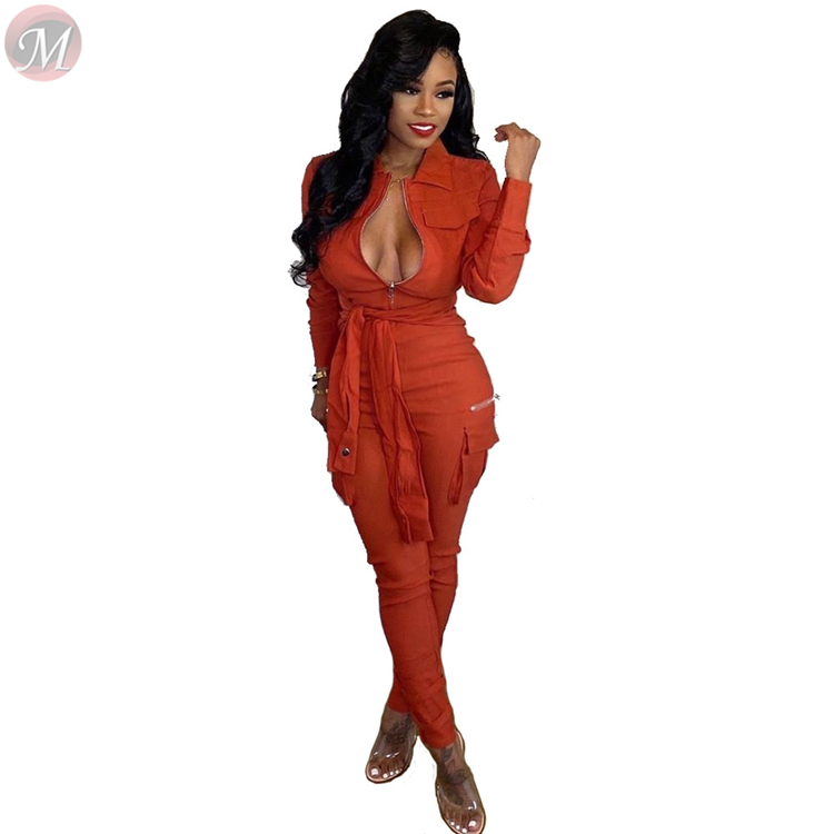 9111802 best seller solid color pocket zipper belt bandage wholesale casual women jumpsuits and rompers