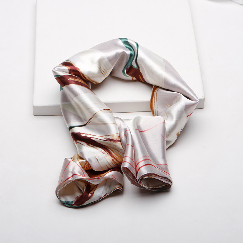 Spring 2019 New Silk Scarf Female Simulated Silk Flame Printing Large Scarf Mother Gift Scarf 90cm Wholesale