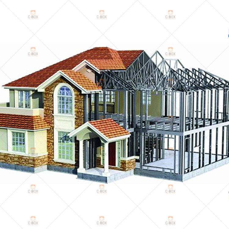 Prefabricated Luxury Villa Two Storey Prefab House Light Steel Prefab House