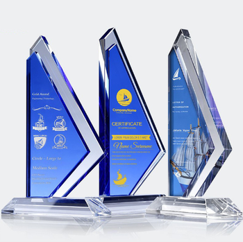 blue crystal trophy academy award trophy sailing trophy