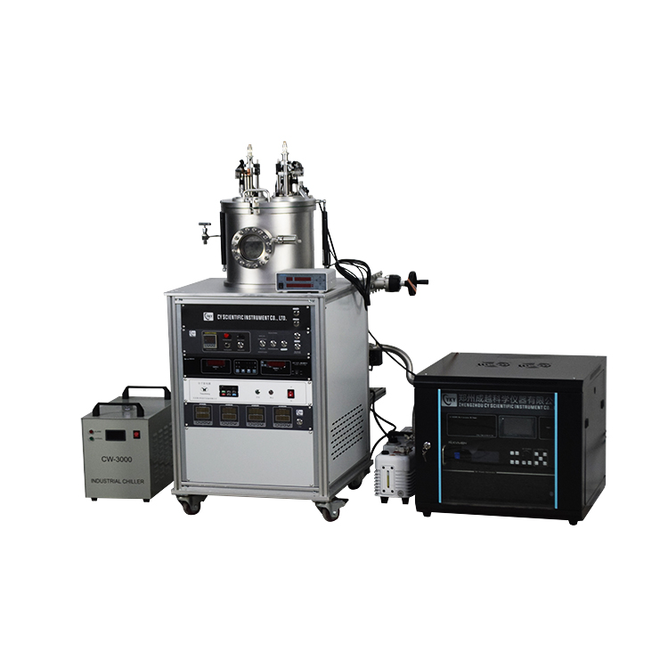 Dual-target DC magnetron sputtering coater for preparing ferroelectric thin films, conductive films, alloy films
