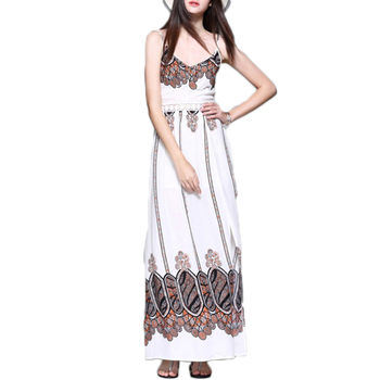 Summer Spaghetti Straps White Women Boho Beach Long Casual Dress Boho Maxi Dress