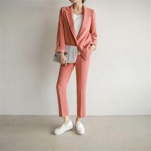 Женский деловой костюм для интервью, деловой костюм из 2 предметов, смоляный блейзер и узкие брюки, офисные женские костюмы(Китай)
