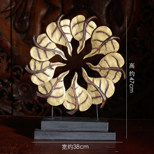 Solid Wood Painted Gold Elegant Bodhi Town House Handicraft Ornaments Home Decoration