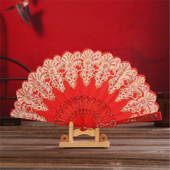 Dance Wedding Party Lace Folding Hand Held Flower Fan