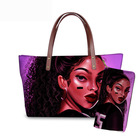 Luxury Designer Custom Branded Black Art African Girl Printing Fashion Ladies Female Hand Bags Purses Handbags Sets For Women