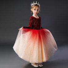 Платья с цветочным узором для девочек, роскошные праздничные платья из тюля с цветочным принтом для свадебной вечеринки, платья для первого...(China)