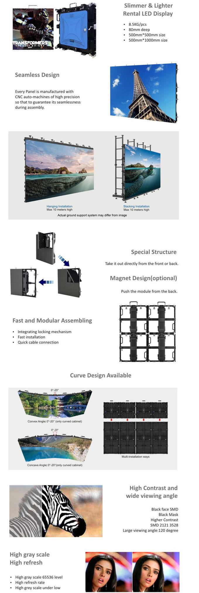 Nova P3.9 Kabinet Besi Penggunaan Indoor Rental LED Tampilan Layar 500*500 Mm Ukuran Standar dengan Hanya 7Kg ringan Berat
