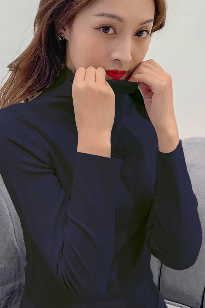 N008 Womens Sweaters 2020 Autumn Winter Tops Turtleneck Sweater Women navy Thin Pullover Jumper Knitted Sweater Pull Femme New