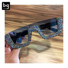 Neue 2020 Quadrat Sonne <span class=keywords><strong>Brille</strong></span> Luxus Bling Strass Party Phantasie Brillen Für Frauen Sonnenbrille