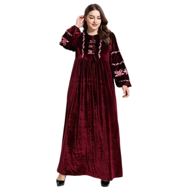 H Dress Panjang Wanita, Pakaian Muslim Kaftan Muslim Sederhana Wanita, Pakaian Muslim Abaya Dubai, Pakaian Islami (Tanpa Jilbab)