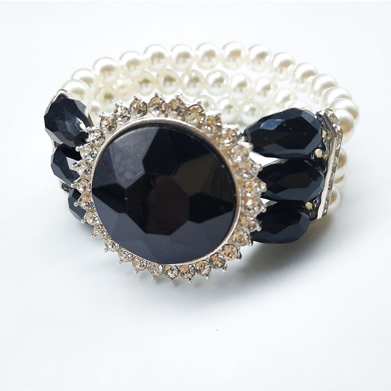 Hot sale inlay rhinestone cut surface glass stone bracelets elastic multi-layers pearl bracelet jewelry wholesale