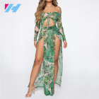Summer Women's Fashionable Jungle Fever Off Shoulder Maxi Dress